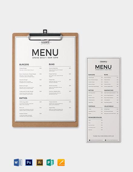 Free Elegant Burger Menu Template