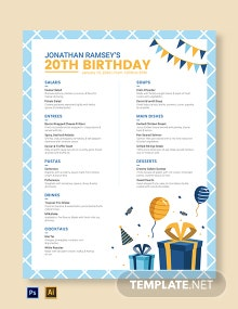 Birthday Flyer Menu Template