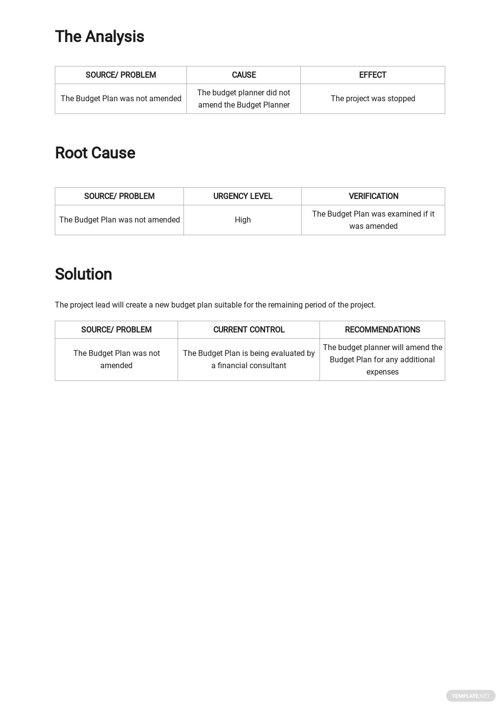 Free Simple Root Cause Analysis Template 2.jpe
