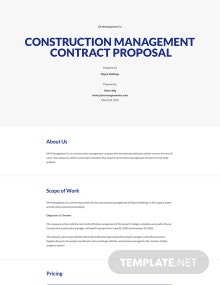 Management Contract Proposal Template