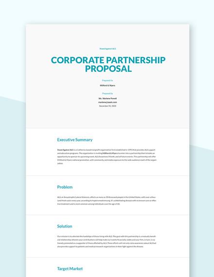Editable Corporate Partnership Proposal Template