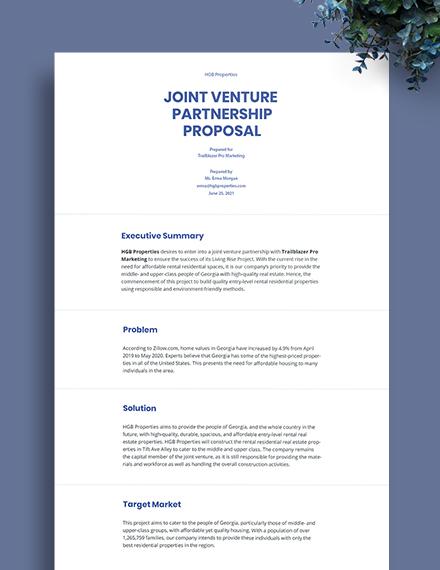 Joint Venture Partnership Proposal Template