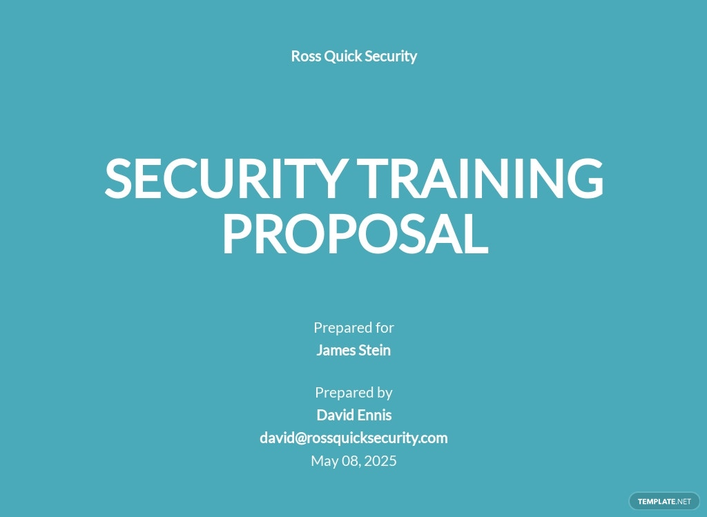 Security Training Proposal Template