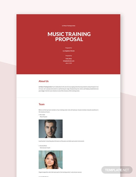 Music Training Proposal Template