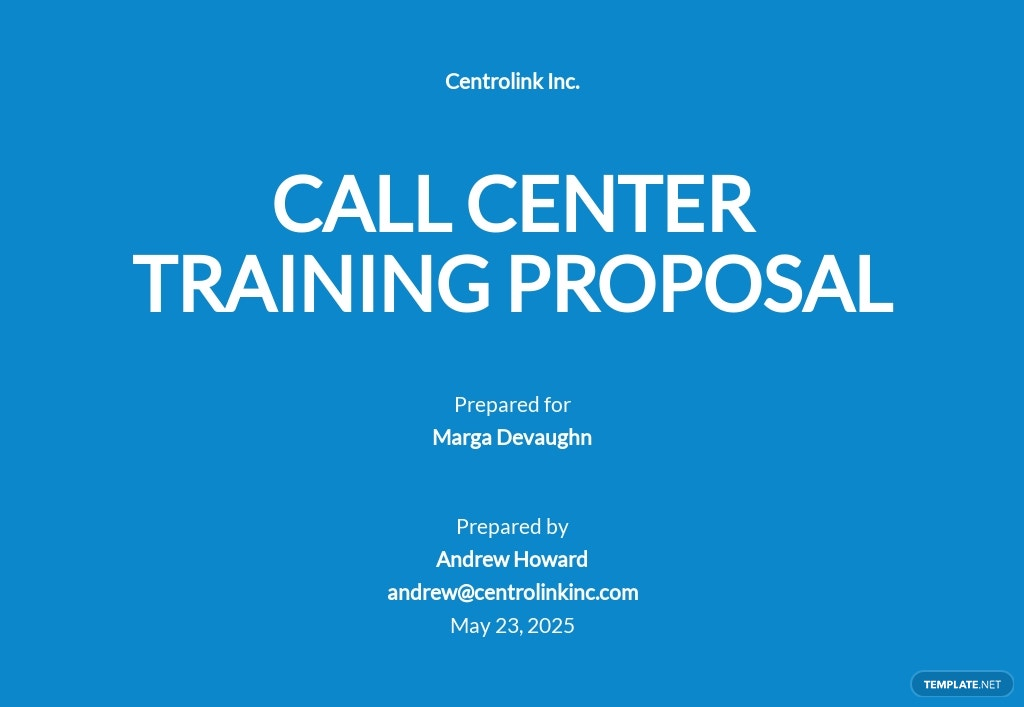 Call Center Training Proposal Template