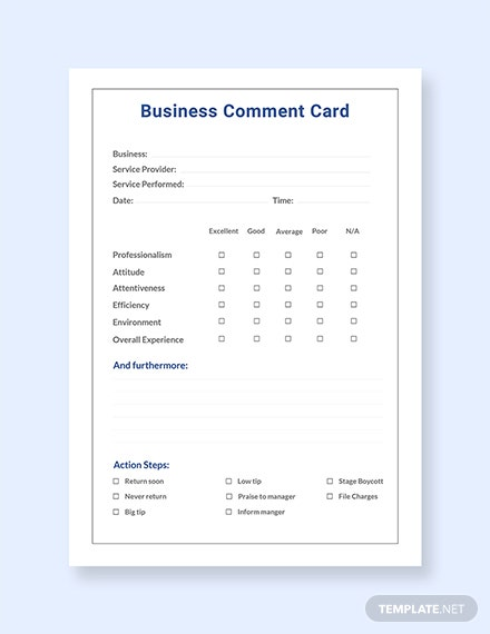 Free Business Comment Card Template