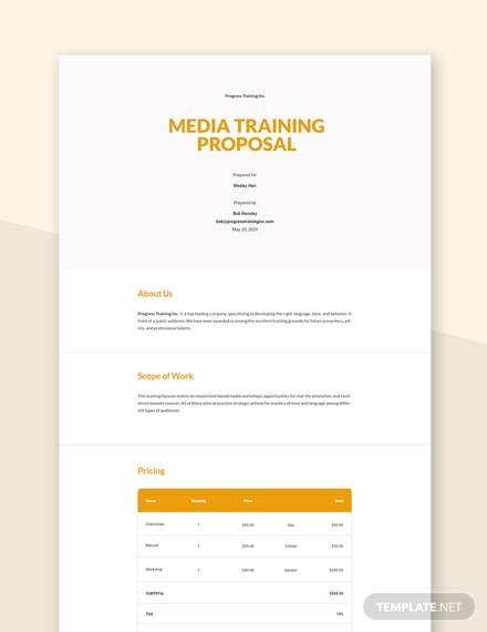 Editable Media Training Proposal Template