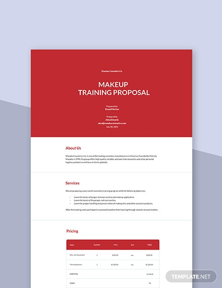 Makeup Training Proposal Template