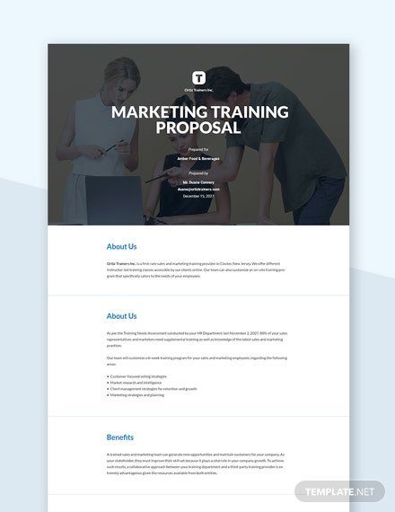 Marketing Training Proposal Template