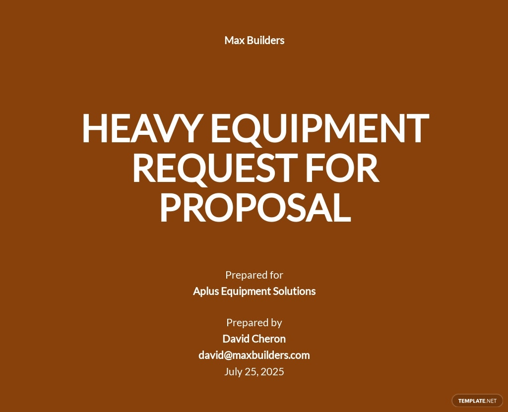 Equipment Request for Proposal Template