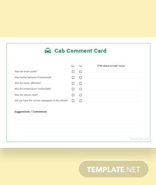 Cab Comment Card Template