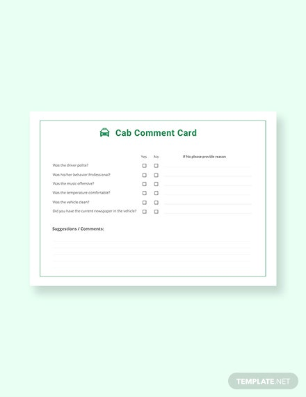 free cab comment card template