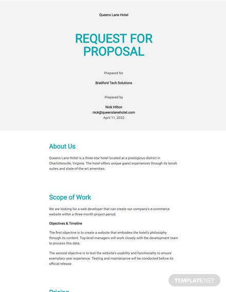 Editable Hotel Request for Proposal Template