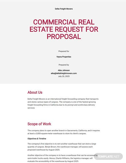 Editable Real Estate Request for Proposal Template