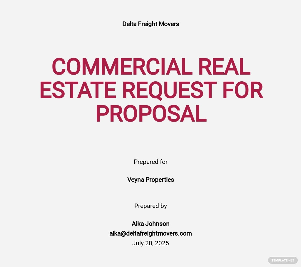Real Estate Request for Proposal Template