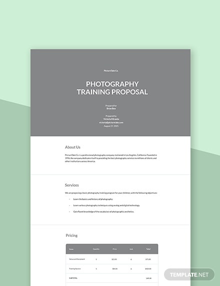 Photography Training Proposal Template