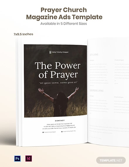 Free Prayer Church Magazine Ads Template