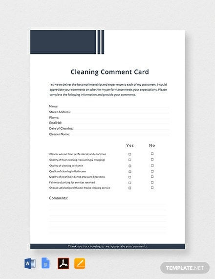 Free Cleaning Comment Card Template