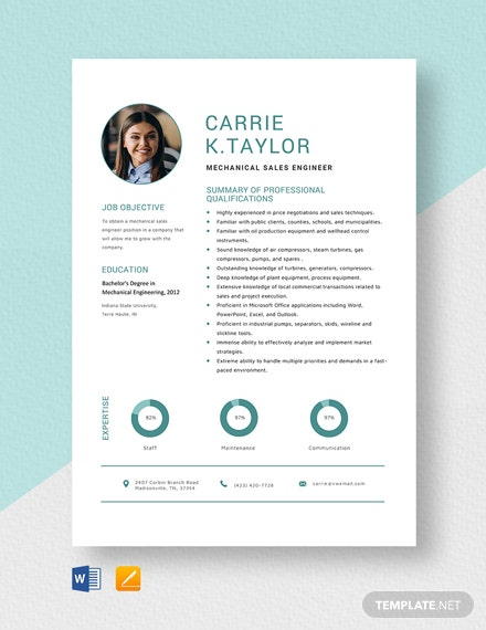 Mechanical Sales Engineer Resume Template