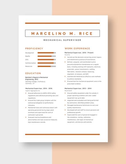 Mechanical Supervisor Resume Template