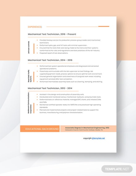 Mechanical Test Technician Resume Template