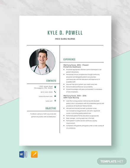Free Med-Surg Nurse Resume Template