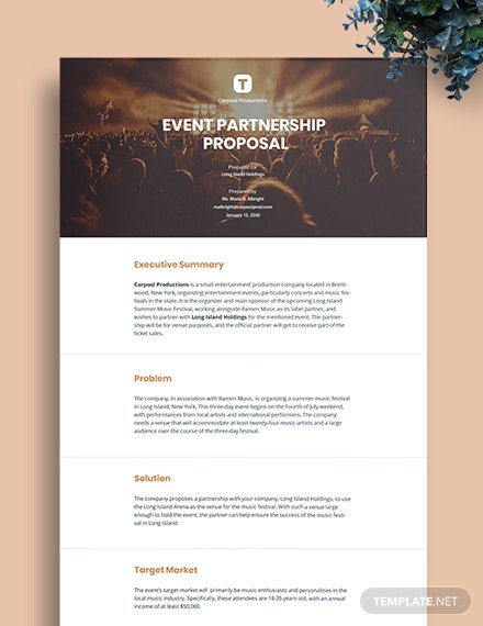Festival Event Partnership Proposal Template