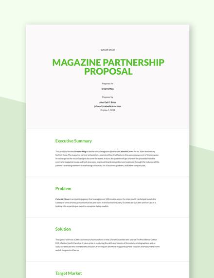 Magazine Partnership Proposal Template