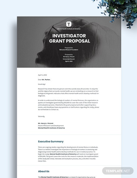 Investigator Grant Proposal Template