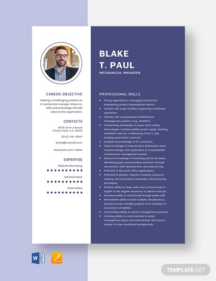 Mechanical Manager Resume Template