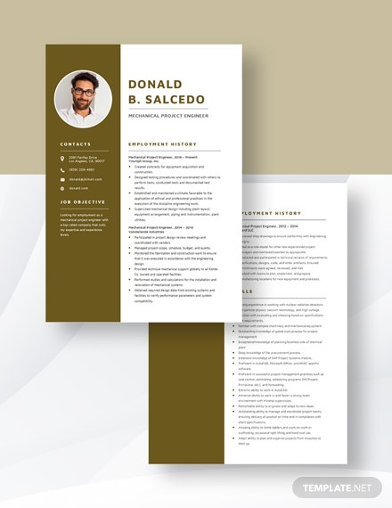 Mechanical Project Engineer Resume Download