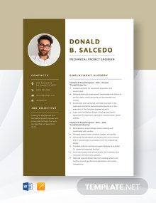 Mechanical Project Engineer Resume Template