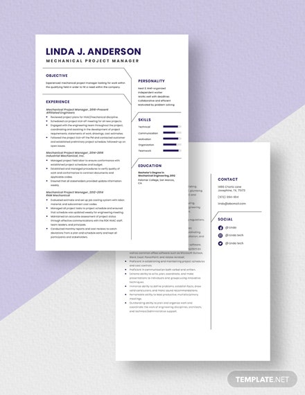 Mechanical Project Manager Resume  Download