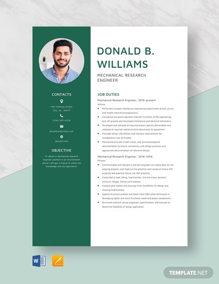 Mechanical Research Engineer Resume Template