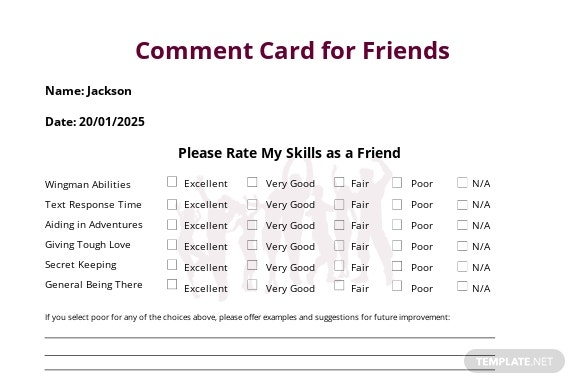 Free Friends Comment Card Template