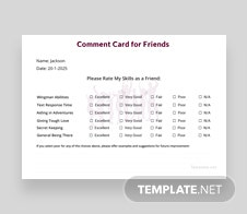 Friends Comment Card Template