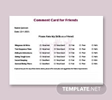 Friends Comment Card Template