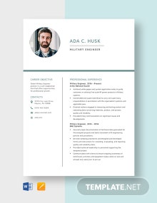 Military Engineer Resume Template