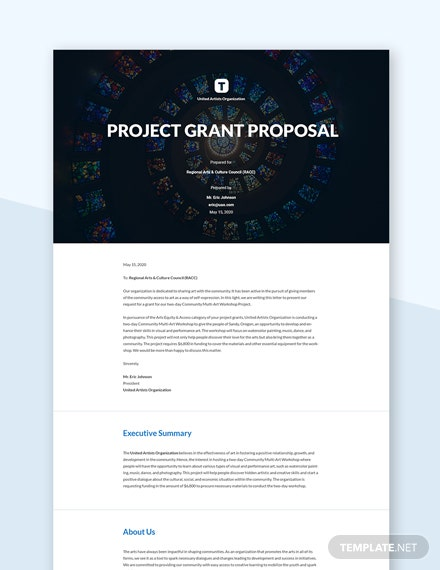 Project Grant Proposal Template