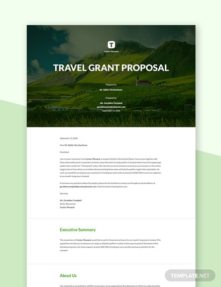 Editable Travel Grant Proposal Template