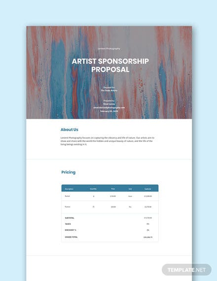 Artist Sponsorship Proposal Template