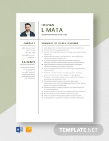 Microcomputer Specialist Resume Template