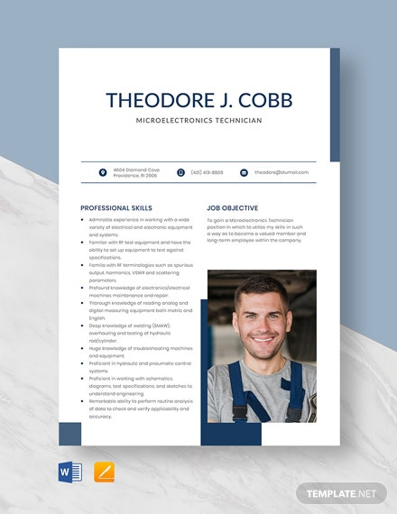 Free Microelectronics Technician Resume Template