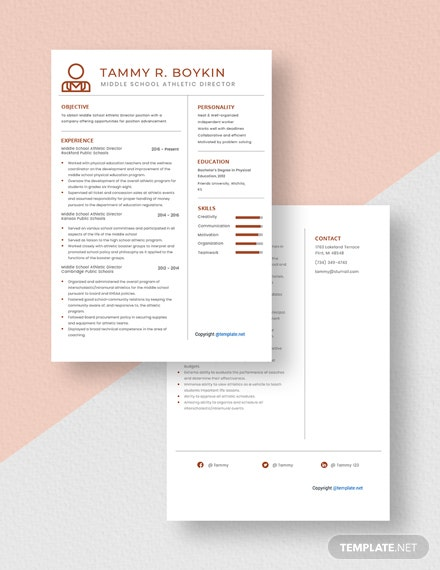 Middle School Athletic Director Resume Download