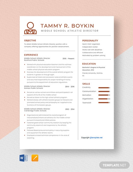 Free Middle School Athletic Director Resume Template