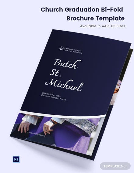 Church Graduation Bi-Fold Brochure Template