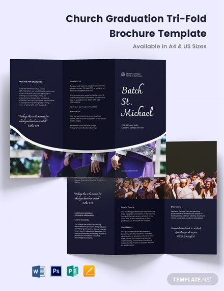 Church Graduation Tri-Fold Brochure Template