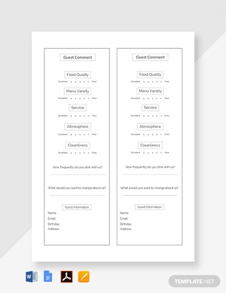 Free Hotel Comment Card Template