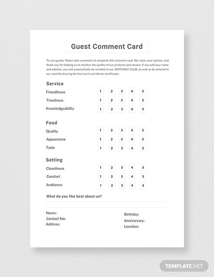 Hotel Comment Card Template