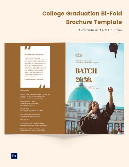 College Graduation Bi-Fold Brochure Template